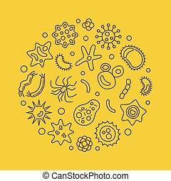 Bacteria vector round virology concept line illustration - ...