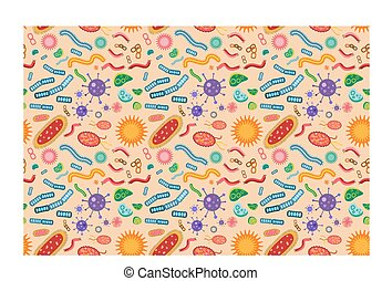 Bacteria virus seamless pattern
