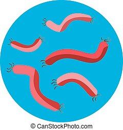 Bacteria virus vector icon. Biology microorganisms, microbes...