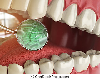 Bacterias and viruses around tooth. Dental hygiene medical concept. 3d illustration