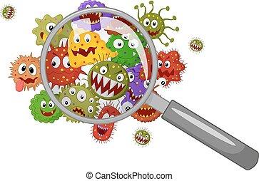 bacterias, caricatura, aumentar, debajo