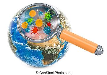 bacterias, erdball, unter, übertragung, glas, keime, erde, vergrößern, 3d