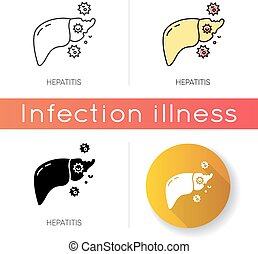 bacterias, hígado, viral, icon., contagioso, rgb, órgano, células, humano, vector, cirrosis, hepatitis, aislado, peligroso, enfermedad, styles., crónico, infection., lineal, negro, color, ilustraciones, jaundice.