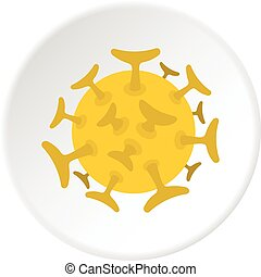 bacterias, redondo, círculo, viral, icono