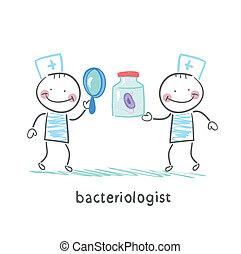 bacteriologist, bakterie, titta glas, genom, förstorar, bank