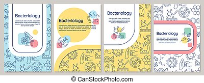 Bacteriology brochure template. Healthcare research. Flyer, booklet, leaflet print, cover design with linear icons. Vector layouts for magazines, annual reports, advertising posters