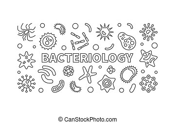 Bacteriology line banner. Vector bacteria illustration -...
