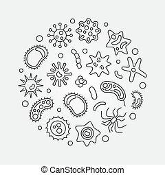 Bacterium round vector microbiology concept line...