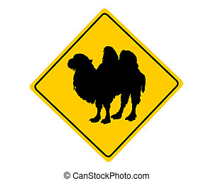 Bactrian camel warning sign