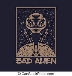 bad alien vector illustration