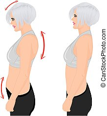 Bad and good posture. Vector illustration