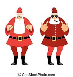 Bad and  good Santa Claus. Wicked Christmas Santa with igaretoj, shows fuck. Good Santa with glasses and red caftan.