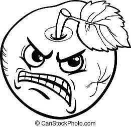 bad apple saying coloring page - Black and White Cartoon...
