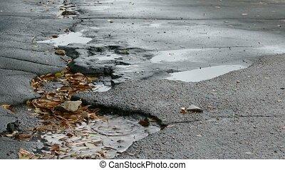 bad  asphalt rain tarmac pits in pool floating leaves are falling splashing drops
