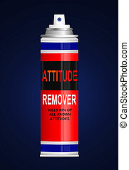 Illustration depicting a single aerosol spray can with the words 'attitude remover'. Blue background.