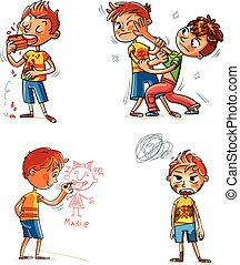 Bad behavior. Two schoolboys are fighting. Boy eating messily. Boy soiled clothes. Boy writes on a wall. Funny cartoon character. Vector illustration. Isolated on white background. Set