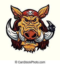 Bad boar with bandana .vector illustration