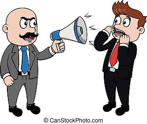 Bad boss angry with megaphone