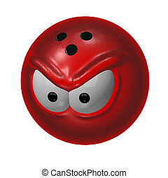 bad bowl - evil bowling ball - 3d cartoon illustration