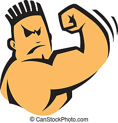 A cartoon bad boy flexing his arm. Vector file.