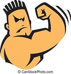 Bad boy - A cartoon bad boy flexing his arm. Vector file.