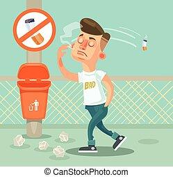 Bad boy character throw garbage. Vector flat cartoon illustration