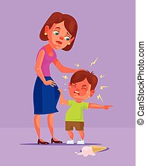 Bad boy child character demand and cry. Vector flat cartoon ...