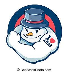 Bad Boy Snowman Character - Vector stock of strong snowman ...