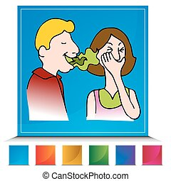 Bad Breath Button Set - An image of a Bad Breath button set.