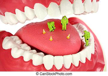Bad breath concept. Miniature HAZMAT team inspects a tongue ...
