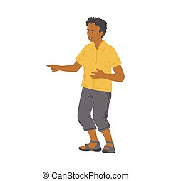 Bad bully behavior of the kid boy a cartoon isolated vector illustration
