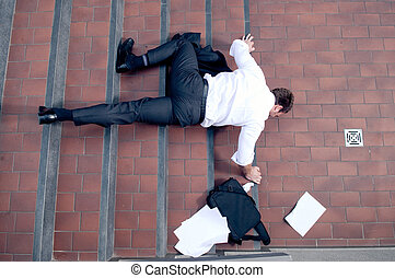 Bad busines  - Clumsy business man falling down stairs