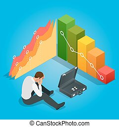 Bad Businessman. Depressed Businessman Leaning His Head Below a Bad Stock Market Chart. Flat 3d vector isometric illustration.