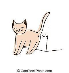 Bad cat urinating on wall isolated on white background. Naughty kitty leaving urine marks at home. Problem of disobedience of domestic animal or pet. Hand drawn vector illustration in doodle style