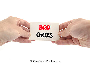 Bad checks text concept