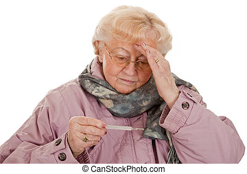 Bad Cold - Female senior with coat- got a bad cold-isolated...