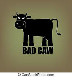 Bad cow - Bad terrible demonic evil cow - illustration