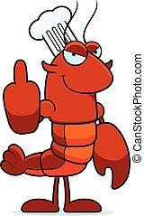 Bad Crawfish Chef - A cartoon illustration of a crawfish...