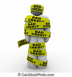 Bad Credit Man Wrapped Tape Poor Rating Score 3d Illustration