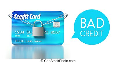 Bad credit score, card with padlock and chain
