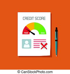 Bad credit score document with not approved stamp vector...