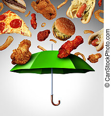 Bad diet protection food concept with a group of greasy fatty fast food falling down like rain and a green umbrella stopping the unhealthy food as a metaphor for poor nutrition and changing eating habits.