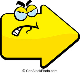 Bad Directions - A cartoon yellow arrow with an angry...