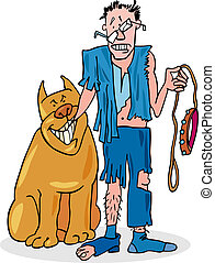 Bad dog and his battered owner - illustration of bad dog and...