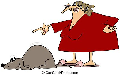 Bad Dog - This illustration depicts an angry woman scolding...