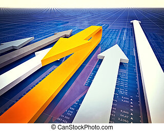bad economy - 3d image of arrows and financial chart