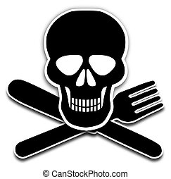 Bad Food - Illustration of a skull, knife and fork