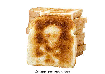 A toasted slice of white bread with a skull and bones symbol isolated on a white background.