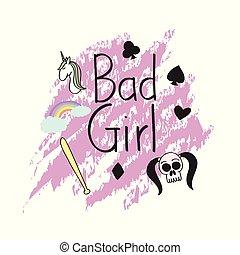 Bad girl t shirt concept art