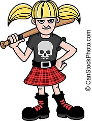 Bad Girl Vector Illustration - Vector design of a young punk...